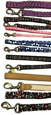 Dog Leash Leashes Puppy Bones Whimsical Stripes Faux Leather Braid Red Blue
