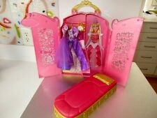 Disney Princess Closet Storage Case-3 Gowns- Bed-Mattel Barbie Size Lot K4