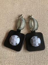 EMPORIO ARMANI Black Leather  Geometric Earrings Statement
