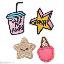 1Set/4PCs BD Stars Ice Cream Milk Cartoon Patch Iron On Garment Accessories