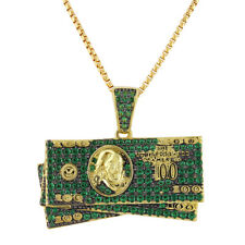 100 Dollar Bills Pendant 14k Gold Finish Green Simulated Diamonds Chain