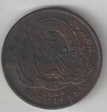 BANK OF MONTREAL CANADA, 1844, SOU (1/2 PENNY TOKEN), COPPER, KMTn18, EXTRA FINE
