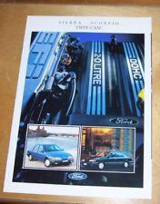 FORD SIERRA SCORPIO TWIN CAM sales brochure 1989 in (environ 5052.06 cm) avril 2.0 français 2.0i