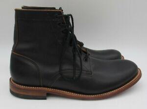 Black 13 D Men's Leather Plain Toe Work Dress Classic Hipster Boots