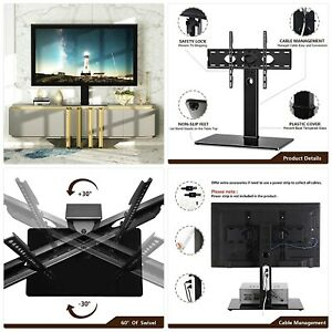 RFIVER Universal Tabletop TV Stand for 55 58 60 65 70 75 80 inch TV Base Replace