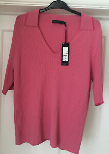 M&S Autograph Ladies Short Sleeve Collared Jumper/Top~pink~New~UK20