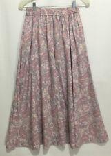 Vtg Liz Sport Size M Pastel Pink Paisley Mid-Calf Modest Length A Line Skirt NOS