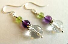 Suffragette Earrings Crystal Amethyst Peridot Gemstones Sterling Silver Downton