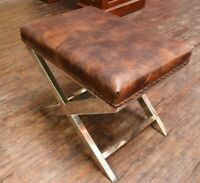 CONTEMPORARY MODERN STEEL CRISS CROSS FOOTSTOOL OTTOMAN VINTAGE BROWN LEATHER