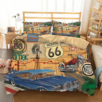 3D Print US Route 66 Bedding Set Duvet Cover and Pillowcase Twin Full Queen King