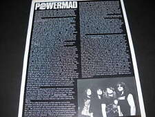 POWERMAD Absolute Power detailed & rare 1989 music biz Promo Article