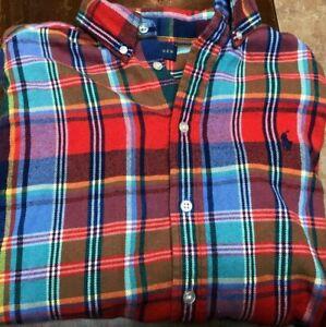 boy's Ralph Lauren Polo L/S flannel shirt size L red, blue, green, yellow,