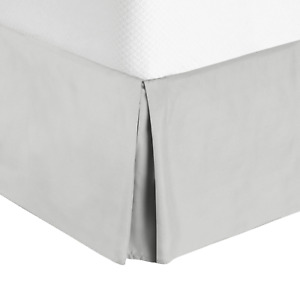 """Hotel Luxury Pleated Tailored Bed Skirt - 14"""" Drop Dust Ruffle, Full XL - Silver"""
