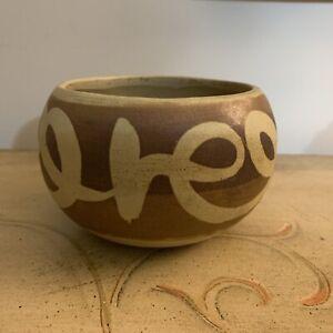 Vtg-RED Clay Pottery Planter Pot-Bowl-Earthen-Stone-Ware Terracotta