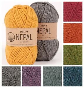 New DROPS Nepal Wool & Alpaca Aran Weight Knitting Yarn 25 Colours