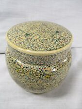 Antique INDIAN Persian LACQUER Round Trinket BOX Hand Painted LARGE