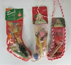 3 LOT NOS VINTAGE 1960s CHRISTMAS STOCKING FILLED WITH PLASTIC TOYS SEALED NEW