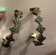 Queen /King Baby Large Cross CZ Hoop Earrings Sterling NEW Biker Moto MSRP $430