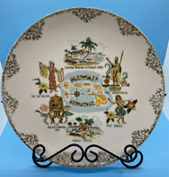 Vintage Hawaii 50th State Gilded Souvenir Plate Tiki Diamond Head Kamehame Hula