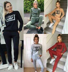 Women' Ladies Long Sleeve Plain Lounge Wear Tracksuit Casual Comfy Two Piece Set