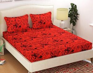 Polycotton Printed Double Bedsheet with 2 Pillow Covers - Red  140 TC Free Ship