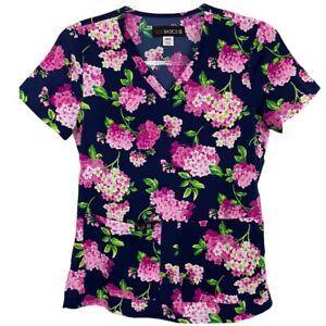 Koi Basics Blue Pink Green Floral Medical Pockets Scrub Top Size XXS