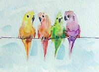 original watercolor painting ACEO lovebirds parrot parakeet pet home urban SIBY