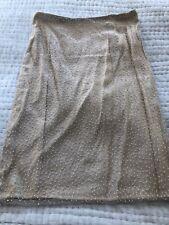 Gianfranco Ferre Studio Beige Beaded Skirt Size 44 Italy