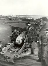 WWII US Army RP- Ordnance Salvage Team- Load Railroad Train- Artillery Gun- 40s