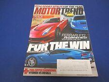 Motor Trend Magazine, December 2013, Ferrari F12 vs Corvette C7 vs Porsche 911