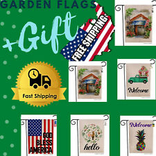 "Vintage Garden Flags Welcome Yard Flag Double Sided Outdoor Decor 12.5""x18""+Gift"