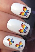 WATER NAIL TRANSFERS MULTI COLOUR PAINT BURST BUTTERFLIES DECALS STICKERS *372
