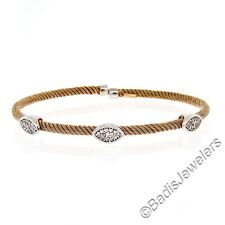 "NEW Italian 14K Rose Gold 6.5"" Diamond Stackable Twisted Cable Bangle Bracelet"