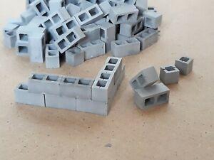 1:35 scale - 80 concrete blocks + 10 half blocks, diorama-building accessories