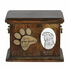 Hovawart - Urn for dog's ashes with ceramic plate and description Usa