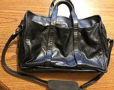 Vintage Black Leather Expandable Messenger Bag Satchel Briefcase