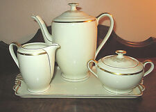 VINTAGE SCHONWALD 4 PIECE TEA SET & TRAY IVORY/GOLD TRIM