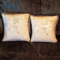 "Accent Throw Pillow LOT 14"" Square White Pink Yellow Rose Embroidered Home Decor"