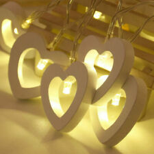 Lamp 10 LED Heart Lights Wooden String Party Wedding Battery Hanging Decor Fairy
