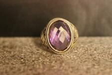 925 Sterling Silver Natural Certified 7 Ct Oval  Amethyst Christmas Mens Ring