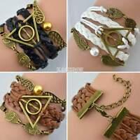 Chouette Hommes le Reliques De La Mort Cuir Nautique Bracelet Amitié Nouveau