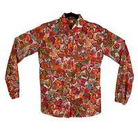ETRO Multi-Color Floral Print Button Up Long Sleeve Shirt Blouse Womens 44