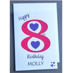 Personalised 8th Birthday Card Girl - 8 Years Old - Daughter Granddaughter Niece