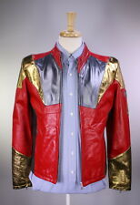 NWT New * BELSTAFF * Red/Gold Metallic 'Iron Man' Leather Limited Ed. Jacket~ M