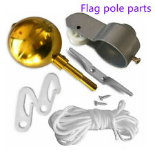 "FLAG POLE PARTS REPAIR KIT 2"" Diameter Truck Pulley Halyard Cleat Clips Rope New"