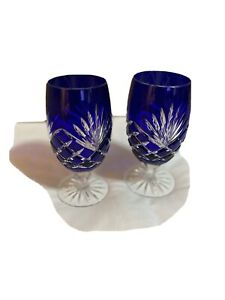 Vintage Cobalt Blue Genuine Crystal Cut Glass Wine Goblets