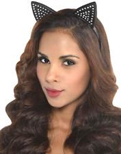 Ladies Diamante Studded Cat Ears Fancy Dress Costume Hairband Headband Animal