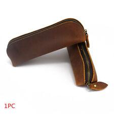 1PC Handmade Cow Leather Pen Case Bag Zipper Vintage Pencil Pouch Brush Tool