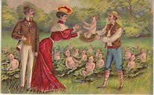 CPA 100 - Fantaisie - Les bébés dans les choux ... Carte gauffrée