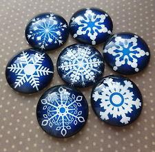10 piezas semicirculares de vidrio redondo Cabujones Mix copos de nieve, Talla 25mm